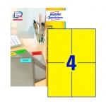 Этикетки Avery Zweckform 3459-100, желтые, 105х148мм, 4шт на листе А4, 100 листов, 400шт, для всех в