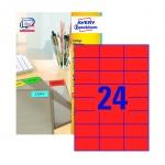 Этикетки самоклеящиеся Avery Zweckform, 24шт на листе А4, 100 листов, 2400шт, для всех видов печати, красный 3448