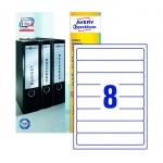 Этикетки для папок Avery Zweckform L6060-100, белые, 192х34мм, 8шт на листе А4, 100 листов, 800шт, для струйной/ цветной лазерной печати