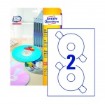 Этикетки для CD/DVD Avery Zweckform L6043-25, белые матовые, d=117мм, 2шт на листе А4, 25 листов, 50