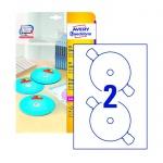 Этикетки для CD/DVD Avery Zweckform L7760-25, белые глянцевые, d=117мм, 2шт на листе А4, 25 листов, 50шт, для цветной лазерной печати