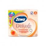 Туалетная бумага Zewa Deluxe персик, оранжевая, 3 слоя, 4 рулона, 150 листов, 21м