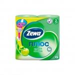 Туалетная бумага Zewa Плюс зеленое яблоко, зеленая, 2 слоя, 4 рулона, 184 листа, 23м