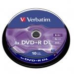 Диск DVD+R Verbatim Dual Layer 8.5Gb, 8x, Cake Box, 10шт/уп