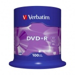 Диск DVD+R Verbatim 4.7Gb, 16x, Cake Box, 100шт/уп