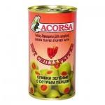 Оливки Acorsa зеленые с перцем, 350г