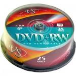 Диск DVD+RW Vs 4.7Gb, 4х, Cake Box, 25шт/уп