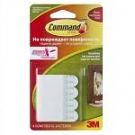 Клейкие застежки для картин малые Command до 450г, белые, 4шт/уп