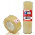 Клейкая лента канцелярская Kores Tauer, прозрачная, 12шт/уп, 12мм х 10м