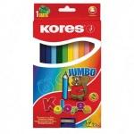 Набор цветных карандашей Kores, трехгранные, с точилкой, 12 цветов