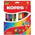 Набор цветных карандашей Kores, трехгранные, с точилкой, 24 цвета