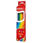 Набор цветных карандашей Kores 6 цветов, с точилкой, 96306.01