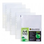 Файл-вкладыш А4 Brauberg прозрачный, 45 мкм, 100 шт/уп