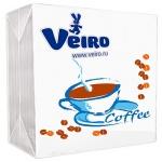 Салфетки сервировочные Veiro белые с рисунком, 24х24см, 1 слой, 50шт