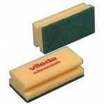 Губка Vileda Pro Виледа 9.5x7см, желтая, зеленый абразив, 125604