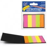 Клейкие закладки бумажные Brauberg 5 цветов, 45х15мм, 5х20 листов