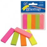 Клейкие закладки бумажные Brauberg 5 цветов, 50х14мм, 250шт