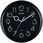 Часы настенные Scarlett SC-09B черные, d=25см, круглые