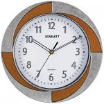 Часы настенные Scarlett SC-55RA серо-коричневые, d=28см, круглые