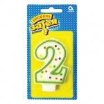 Свеча для торта Веселая Затея цифра 2, 7.6см