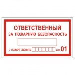 Знак Ответственный за пожарную безопасность 140х250мм, самоклеящаяся пленка ПВХ, В 43