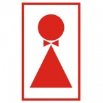 Знак Туалет женский 120х190мм, самоклеящаяся пленка ПВХ, В 38