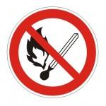 Знак Запрещается пользоваться открытым огнем и курить d=200мм, самоклеящаяся пленка ПВХ, Р0
