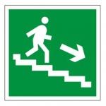 Знак Направление к эвакуационному Выходу по лестнице направо вни 200х200мм, самоклеящаяся пленка ПВХ, Е13