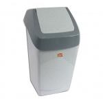 Контейнер для мусора М-Пластика Хапс 15л, серый, с качающейся крышкой, М 2471