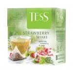 Чай Tess Strawberry Shake (Строуберри Шейк), зеленый, в пирамидках, 20 пакетиков