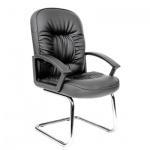Кресло посетителя Chairman 418 V иск. кожа, черная, матовая, на полозьях, черное матовое
