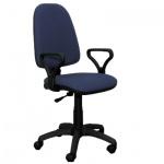 Кресло офисное Бюрократ Престиж ткань, черная, синяя, крестовина пластик