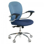 Кресло офисное Chairman 686 ткань, синяя, голубая, JP, крестовина хром