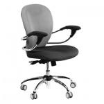 Кресло офисное Chairman 686 ткань, крестовина хром, черно-серое