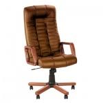 Кресло руководителя Nowy Styl Atlant extra нат. кожа, крестовина дерево, коричневое