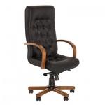 Кресло руководителя Nowy Styl Fidel extra нат. кожа, черная, крестовина дерево