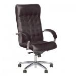 Кресло руководителя Nowy Styl Lord steel нат. кожа, черная, крестовина хром