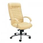 Кресло руководителя Nowy Styl Orion steel нат. кожа, бежевая, крестовина хром
