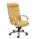 Кресло руководителя Nowy Styl Orion steel нат. кожа, песочная, крестовина хром