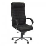 Кресло руководителя Nowy Styl Orion steel нат. кожа, черная, крестовина хром
