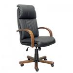 Кресло руководителя Самсон Надир-экстра нат. кожа, черная, крестовина дерево