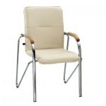 Кресло посетителя Nowy Styl Samba иск. кожа, бежевая, на ножках, хром