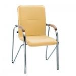 Кресло посетителя Nowy Styl Samba иск. кожа, песочная, на ножках, хром