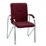 Кресло посетителя Nowy Styl Samba иск. кожа, бордовая, на ножках, хром