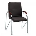 Кресло посетителя Nowy Styl Samba иск. кожа, черная, на ножках, хром