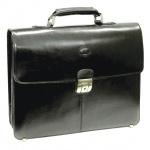 Портфель Baron 390х300х100мм, чёрный, натуральная кожа