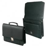 Портфель Алекс Бизнес 410х340х100мм, черный, искусственная кожа