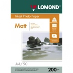 Фотобумага для струйных принтеров Lomond А4, 50 листов, 200 г/м2, матовая, двусторонняя, 102033
