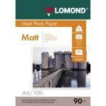 Фотобумага для струйных принтеров Lomond А4, 100 листов, 90г/м2, матовая, односторонняя, 102001