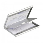 Визитница Durable Business Card Box Duo на 20 визиток, серебристая, металл, 2433-23